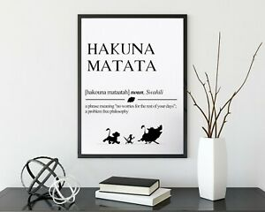Hakuna Matata Definition Meaning Print Poster Disney Lion King Quote Wall Art