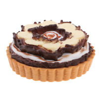 Dollhouse Mini Chocolate Cream Cake Pie With Magnets For 1/6 Scale Ornament