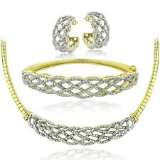 0.75 Ct Diamond Weave Necklace, Bracelet, Earrings Set - Gold Tone