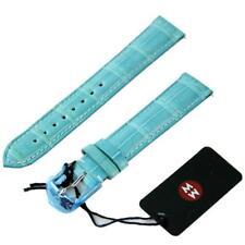 NEW Michele 16mm Light Sea Blue Watch Band Strap Genuine Alligator