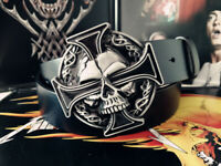 Men's Fashion Black Real Leather Belt Skull Buckle Belt Gothic Punk Waistband