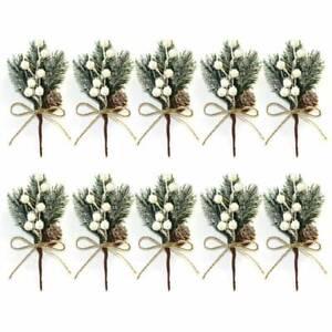Artificial Pine Berry 10X Xmas Decor Holly Flower Christmas Branch Ornament Pick
