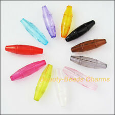 25Pcs Mixed Plastic Acrylic Oval Rice Tube Charms Spacer Beads 8x29.5mm