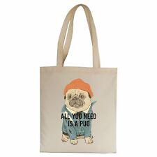 Pug funny illustration design tote bag canvas shopping