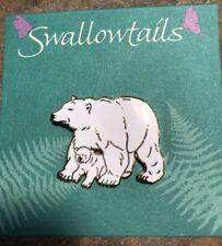 "Polar Bear Brooch Cloisonne Art Swallowtails Swallow Tails New Vintage 1 3/8"" W"