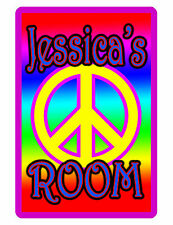 Personalized Kids Room Sign Printed with YOUR NAME bright color aluminum PEACE 3