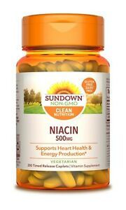 Sundown Naturals Niacin 500 mg, 200 Ct Time Release Caplets  Energy Support.