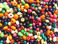 400 Wooden Beads 5-8 mm Round Mixed Colours Assorted Red Green Blue Yellow Cream