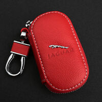 Red Cowhide leather Car Key Holder Keychain Ring Case Bag Fit For Jaguar Auto