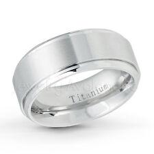 Comfort Fit Titanium Ring, 9mm Flat Brushed Finished Titanium Wedding Band