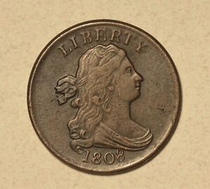1808 Half Cent Ch VF, 180-Die Rotation No Reserve