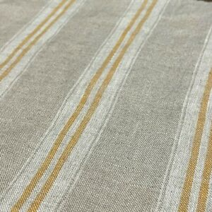 Oslo Stripe Ochre Yellow Vintage French Washed Linen Fabric Lightweight Curtains