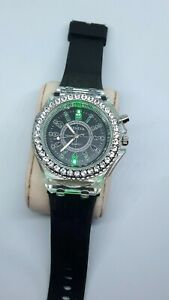 Quartz watch With Flashing Lights Bejeweled Housing Rubber Strap New