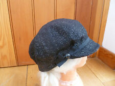 MONSOON ACCESSORIZE BLACK SILVER SPARKLE BOW DETAIL BAKER BOY PEAKED HAT CAP NEW