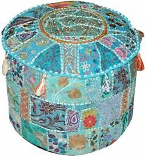 Pouf Ottoman Turquoise Indian Poof Pouffe Foot Stool Floor Pillow Ethnic Decor