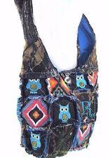 Western Camo Mossy Oak OWL Embroidery Cross Body Aztec Messenger Rag Bag Blue