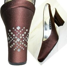 New BRONZE SATIN PUMPS HEELS SHOES 7N w RHINESTONE STUDDED Heel by Allure Spain