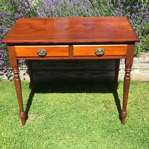 Victorian Edwardian Desk / Writing Table + 2 drawers on turned legs early C20th