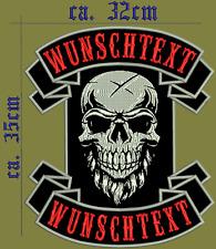 Rückenpatch Aufnäher  oben unten -motiv Mit  Wunschtext Biker Kutte ...SET
