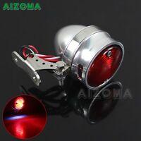 Motorcycle LED Polished Tail Brake Light Lamp For Cafe Racer Chopper Bobber 12V