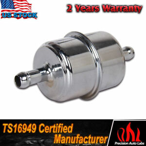 "Top ! Chrome Canister Style InLine Fuel Filter 3/8"" Hose Carbureted US"