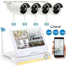 "4CH NVR WiFi 10""LCD Outdoor 720P Wireless Security CCTV System IP Camera IR K3F6"