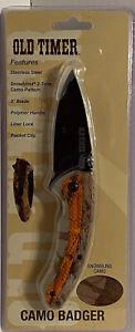American Outdoor Old Timer Camo Badger Liner Lock Pocket Knife New
