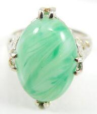 18K White Gold Green White Jade Ring Vintage Style Size 4.25