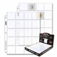 """20 BCW Pro 20-Pocket Pages, Pocket Size: 2"""" x2"""", Pages Coin Collecting Supplies"""