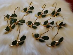 Decorative Metal Holly Poinsettia Shower Curtain Rings/Hooks