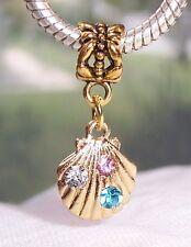 Scallop Shell Rhinestone Gold Seashell Beach Dangle Bead for Euro Charm Bracelet