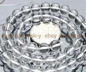 """8MM Natural White Rock Crystal Gemstone Clear Quartz Round Loose Beads 15"""""""