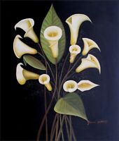 Hand Painted Oil Painting, Bunch of Calla Lilies 20x24in