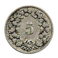 KM# 26 - 5 Rappen - Switzerland 1891 (Fair)