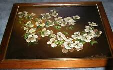 VINTAGE KOUSA DOGWOOD BLOSSOMS FLOWERS STILL LIFE SEPIA REALISM OIL ART PAINTING