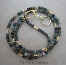 Handcrafted earthy green fancy jasper gold lanyard ID badge holder 32 inches