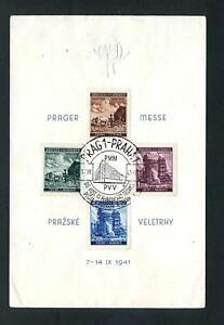 """B+M 75 - 78 , postamtliches Schmuckblatt """"PRAGER MESSE"""" , Bug unten links #m634"""