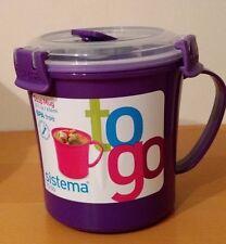 Sistema Purple Klip It Microwave Soup To Go Mug Work Lunch Snack Box BPA Free