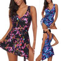 Plus Size Women One Piece Swimdress Floral Swimwear Swimsuit Push Up Padded Bra