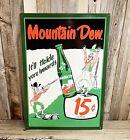 "Mountain Dew Tickle Innards Pop Soda 17"" Metal Tin Sign Vintage Bar Man Cave"