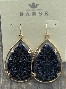 Barse Carved Teardrop Earrings- Onyx- Bronze- NWT