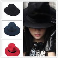 Retro Womens Wide Brim Ribbon Warm Wool Blend Felt Hat Bowler Trilby Fedora Cap