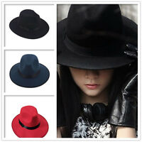 Women Wide Brim Ribbon Warm Classic Wool Blend Felt Hat Bowler Trilby Fedora Cap