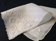 #4335🌟Vintage 1930s Appenzell Embroidery Wedding Linen Handkerchief Heirloom