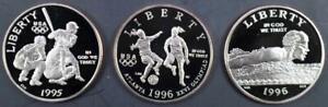 Lot of 3 Proof Olympic Commemorative Halves 1995-S Baseball 1996-S Swim & Soccer