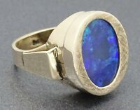 Vintage HANDMADE 9ct Yellow Gold & Violet Blue Opal Textured Surround Ring