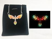 PHOENIX Fire GLOW in the DARK Silver Pendant Charm Necklace Bird Origami Cute