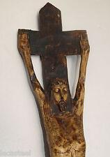 grand christ d'art populaire en bois sculpté monoxyle 19ème - religion