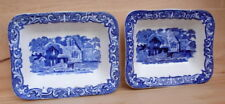 Vintage 2 x George Jones & Sons Abbey 1790 blue & white Shredded Wheat dishes