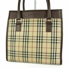 Auth BURBERRY Nova Check Plaid Canvas Leather Small Tote Hand Bag 12322bkac